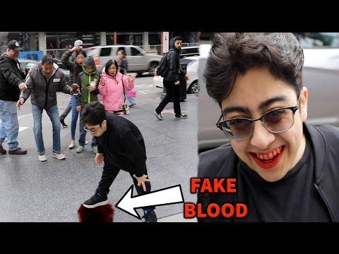 THROWING UP BLOOD IN PUBLIC PRANK!!