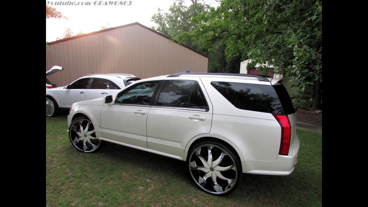 Pearl White Cadillac Srx On Rockstarr 28s Bat96chevy
