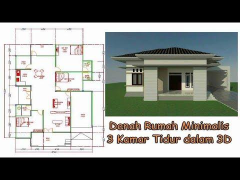 Gambar Denah Rumah Minimalis 3 Kamar Tidur 3d Eps01 Youtube