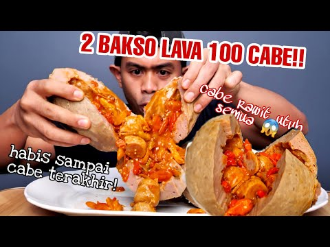 GILA!!MUKBANG 2 BAKSO LAVA LEVEL 100 CABE RAWIT TERPEDES DIDUNIA!