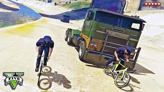GTA 5 TRUCKS vs BIKES | Running Over Cyclists in Adversary Mode | GTA 5 Funny Moments PS4 Gameplay