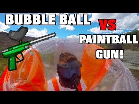 BUBBLE BALL VS PAINTBALL GUN!