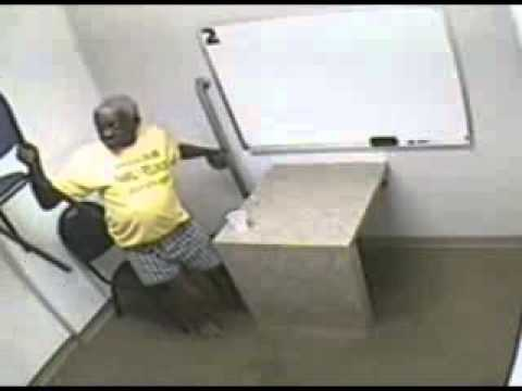Crazy old nigga throws chairs, urinates on floor in interrogation room