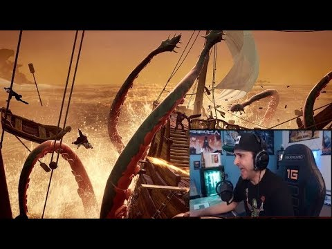 Summit1g reacts to kraken in sea of thieves