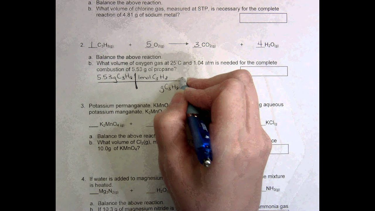 Gas Law Stoichiometry Worksheet - YouTube
