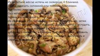 Блюда на завтрак:Яичные блинчики с курицей и грибами