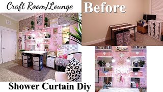 MIRROR & SHOWER CURTAIN CRAFT/ LOUNGE ROOM WITH CARDBOARD SEATING!!! ANOTHER GIVEAWAY!!!