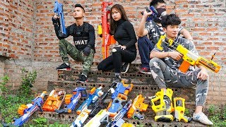 Nerf War Games: SWAT James Bond Nerf Guns Captain Girl Special Force Rescue Lady