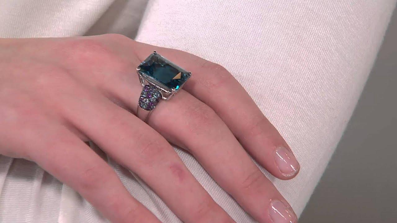 London Blue Topaz & Multi-Gemstone Sterling Ring 14.00 ct with Jill ...