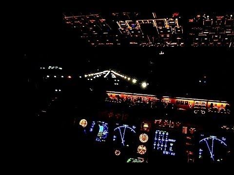 KLM Boeing 747-400F Cockpit - Night Take-Off Nigeria, LOS