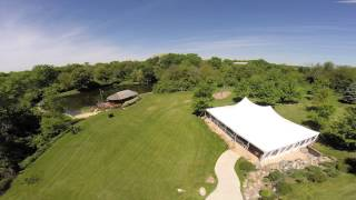 Aerial view of Outdoor Wedding venue with tent @Harvest Preserve in Iowa City