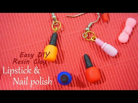 【Easy DIY-resin clay】Lipstick & Nail polish polymer clay earring