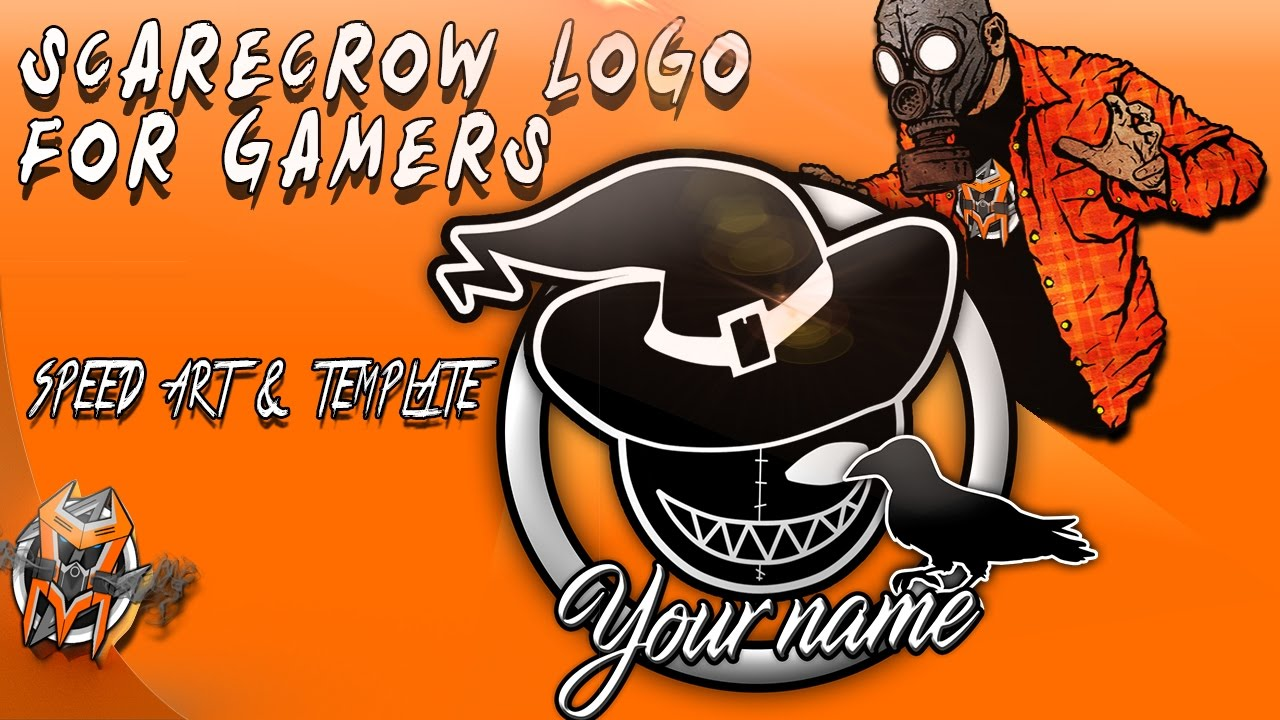 Gaming ScareCrow Logo - Speed Art and Template - YouTube