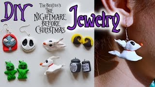 DIY easy Nightmare Before Christmas Jewelry - clay earrings, necklace, ring for Halloween
