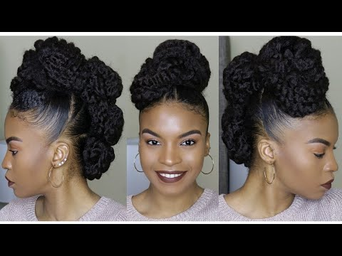 Natural Hair Faux Mohawk Updo Using Marley Braiding Hair How To