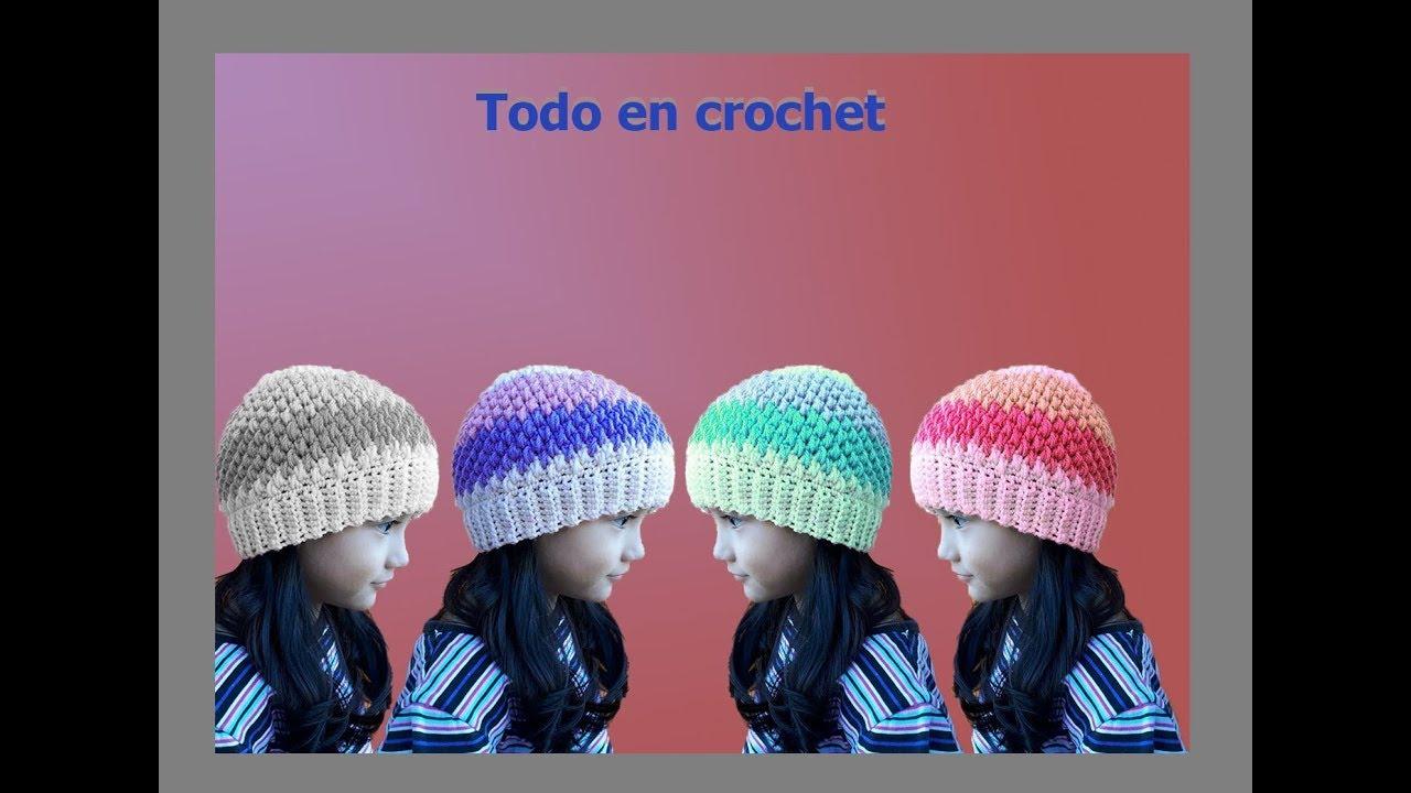 ea8860933dc7 Gorro a crochet punto arroz o puff doble - punto arroz reversible - beanie  crochet