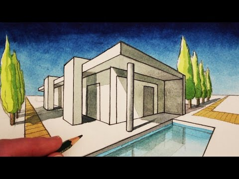 How to Draw in 2-Point Perspective: A Modern House