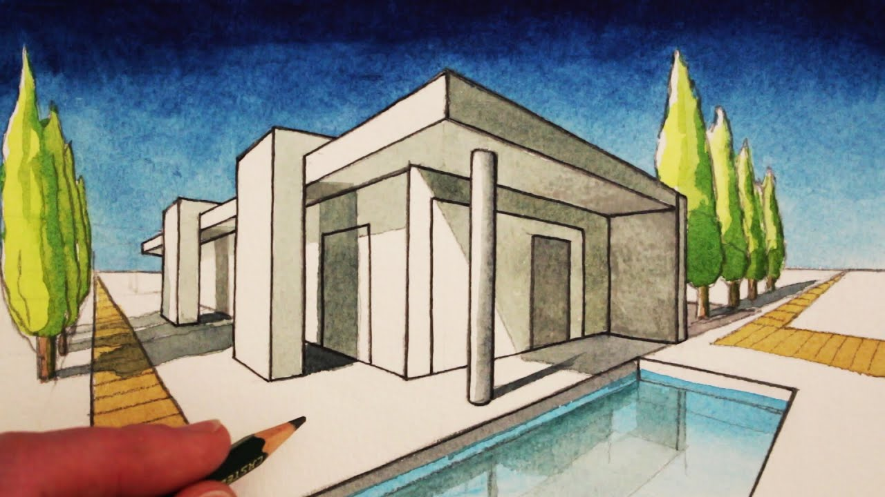 How to draw in 2 point perspective a modern house youtube for Architecture modern house design 2 point perspective view