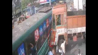 Caught on cam: Truck crushes woman trying to board bus