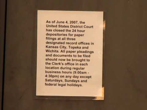 The U.S. District Court has closed the 24 hour Depositories for paper filings in Kansas State