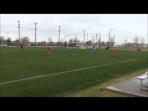 Alain Sargeant #2(Red) at R Back, Toronto FC Academy vs Dallas FC Academy 1st half March 30, 2013