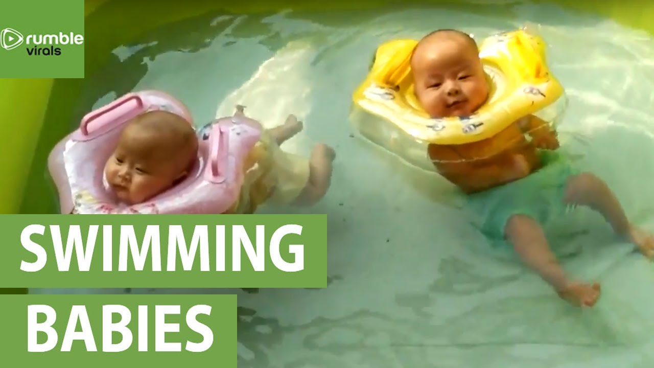 2 Month Old Twin Babies Enjoy Pool Time Youtube