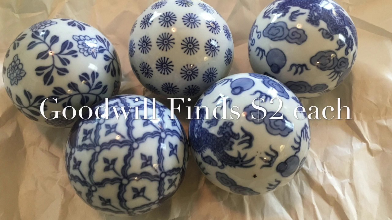Pier1 Blue White Decorative Balls And A Few Goodwill Finds Youtube