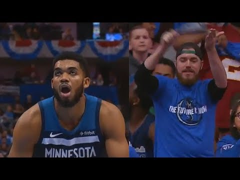 """Karl Anthony Towns Gets Scared After Mavs Fans Chant """"Jimmy Butler"""" and Misses Free Throw!"""