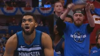 Karl Anthony Towns Gets Scared After Mavs Fans Chant
