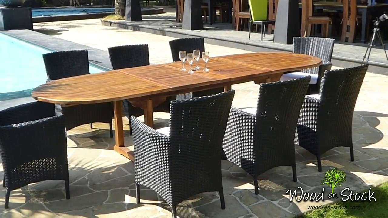 grand salon de jardin en teck 8 places table 3 metres - YouTube