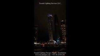 Facade Lighting for Cayan Tower - Dubai Marina by Facade Lighting Services