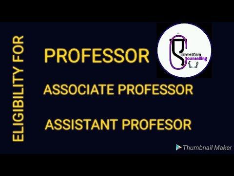 ELIGIBILITY FOR PROFESSOR/ ASSOCIATE PROFESSOR/ ASSISTANT PROFESSOR