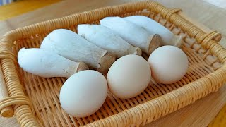 【小穎美食】杏鮑菇最好吃做法,加3個雞蛋,不炒不煮不油炸,給紅燒肉都不換