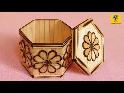 DIY Handmade Jewelry Storage Box with Ice-Cream Sticks | Jewelry Organizer Box Design #2