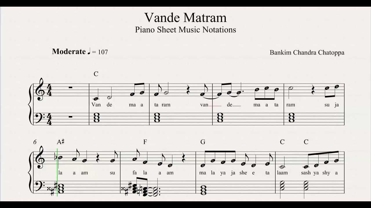 Vande Matram Sheet Music Notations From Musichorizon Youtube