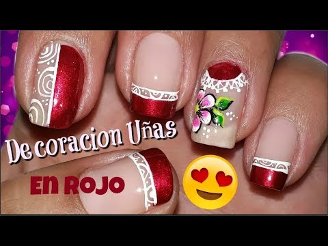 Imagenes De Decoraciones De Unas.Decoracion De Unas En Rojo Nail Decoration In Red