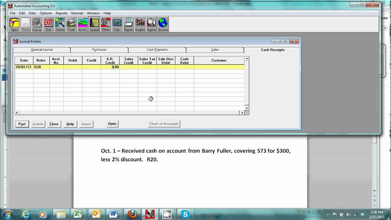 Automated Accounting   Cash Receipts Journal, Received Cash On Account With  Discount   YouTube  Cash Received Receipt