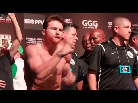 Canelo-GGG Weigh In: Alvarez RUSHING At Golovkin #CaneloGGG2 #boxing