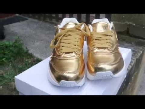 best website bc83f 45d4d NIKE AIR MAX 1- LIQUID GOLD - YouTube