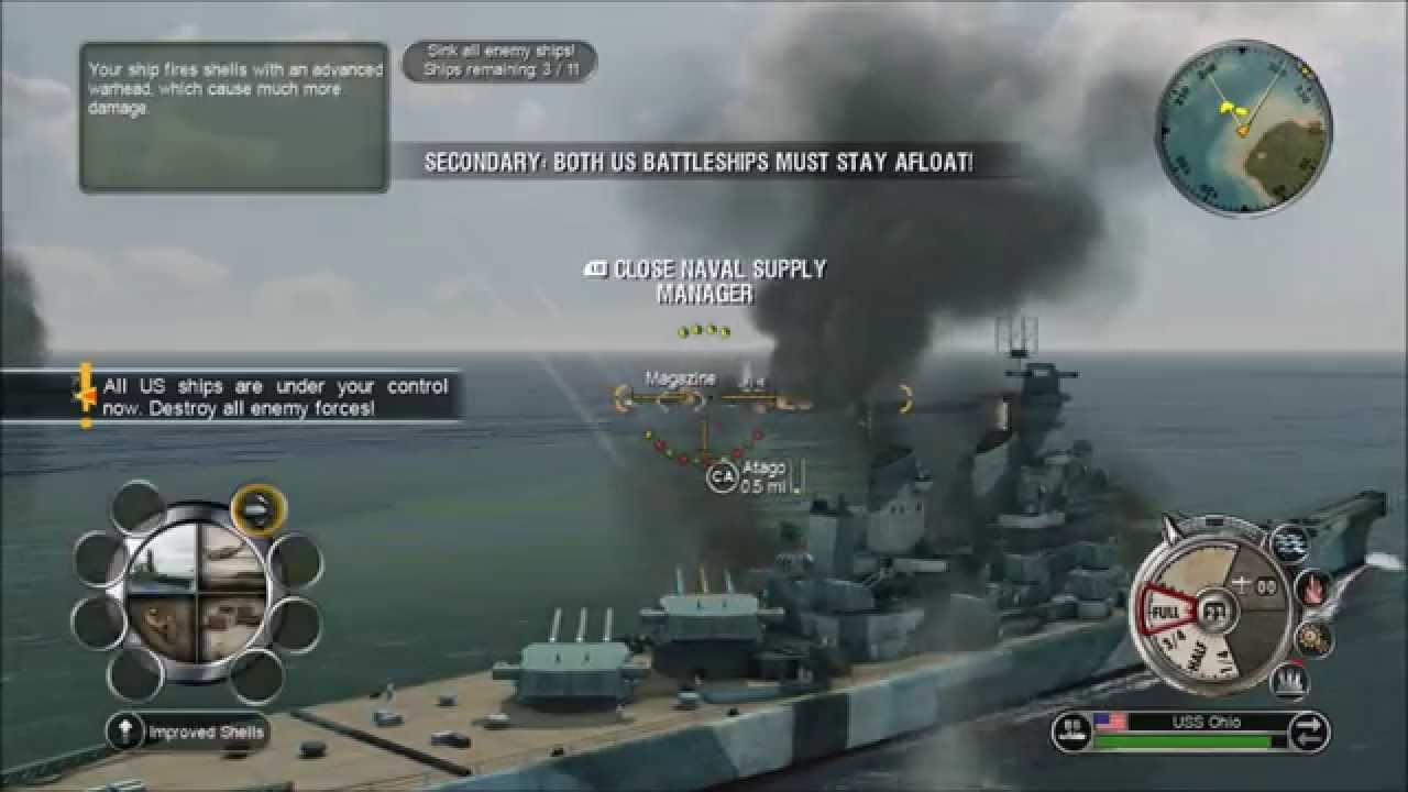 Battlestations Pacific Gameplay-Montana-Super battleship-Narwhal  submarine-P 41 Warhawk fighter
