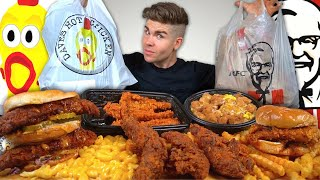 KFC vs. Dave's Hot Chicken Mukbang! Nashville Hot Tenders, Sandwiches w/ Mac N Cheese, Famous Bowl +