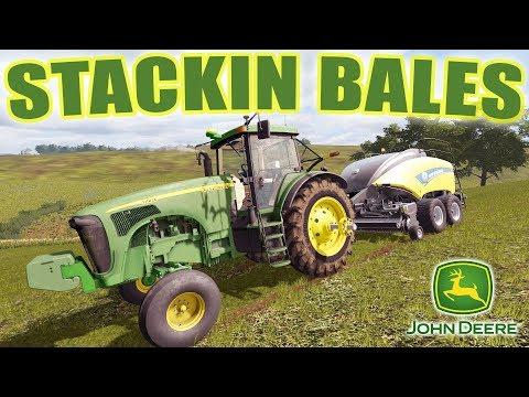 HAY DAY- MOWING, BALING, RAKING & STACKING WITH 2 NEW LOADER TRACTORS | FARMING SIMULATOR 2017 EP#44