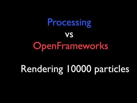Processing vs OpenFrameworks rendering 10,000 particles