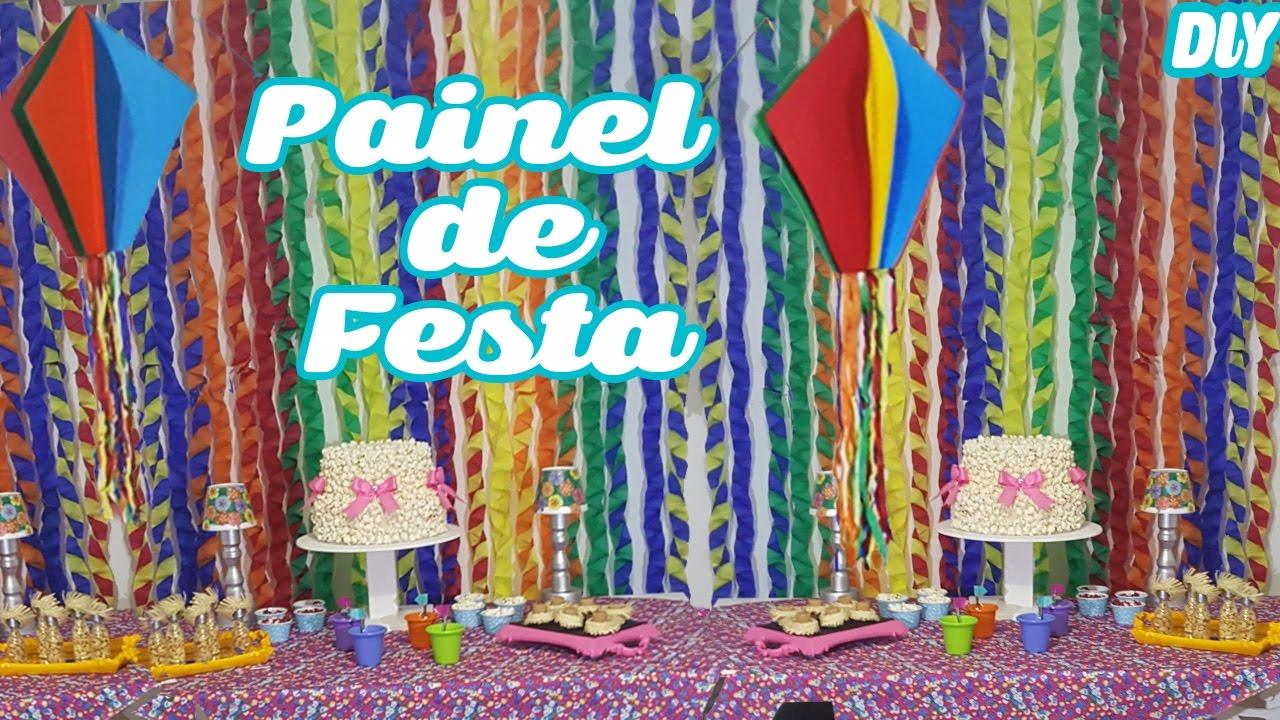 DIY Painel de Papel Crepom Decoraç u00e3o Festa Junina YouTube -> Decoração De São João Com Papel Crepom