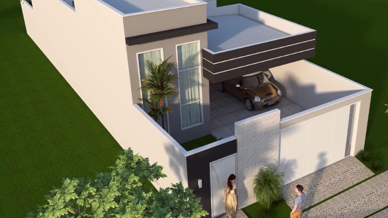Projeto constru o casa t rrea terreno 8x25 com 125 m2 e 3 for Casa moderna 140 m2
