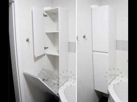 Мебель в ванную, шкаф мфд подвесной, шкаф без ручек в ванную, корзина для белья