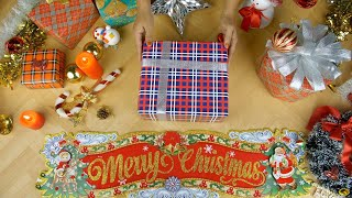 Top view of a beautifully decorated wooden platform with Christmas ornaments