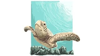 Time Lapse Adobe Illustrator : sea turtle vector painting illustration
