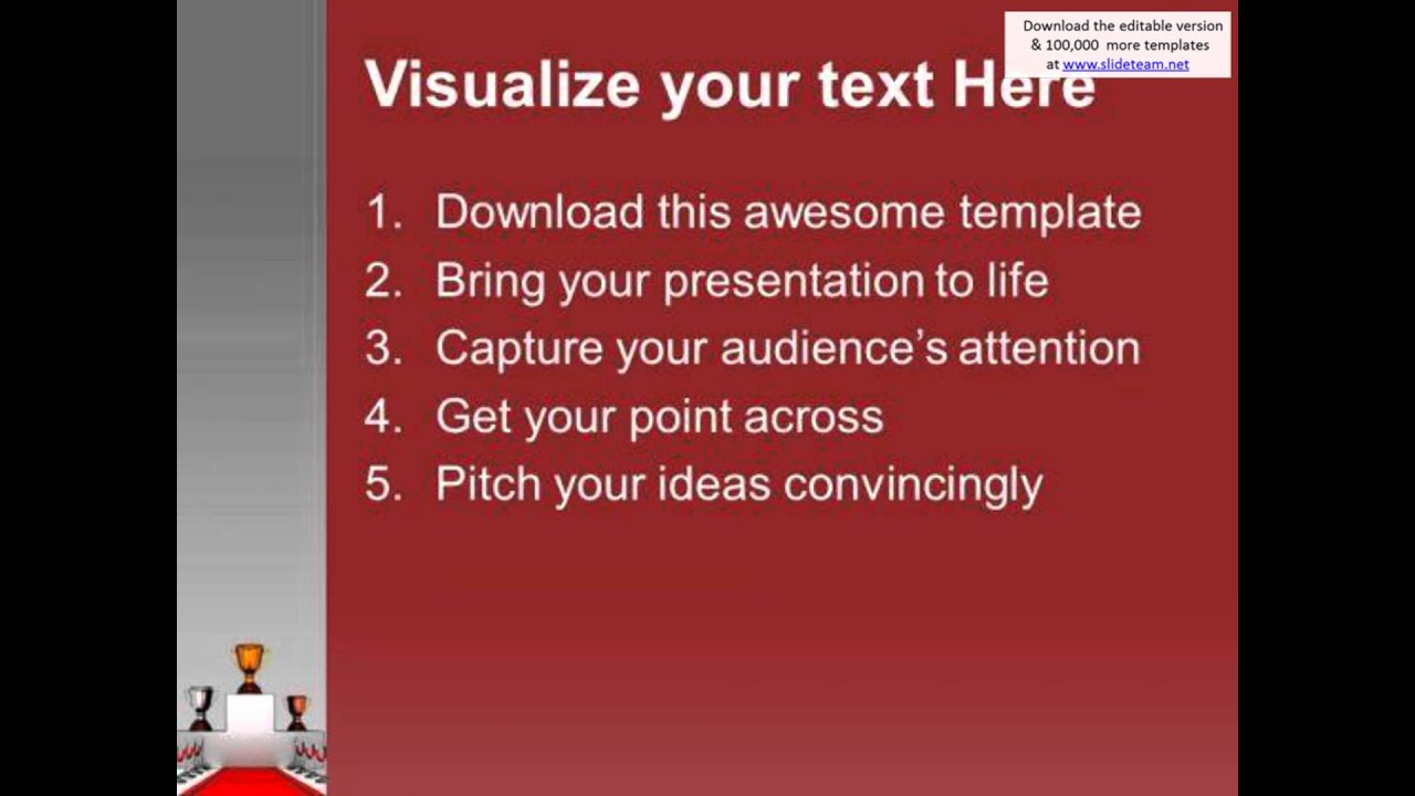 trophies on podium with red carpet powerpoint templates ppt