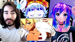I Showed YouTubers Extreme Anime Clips (ft Cr1TiKaL & Melody) #HentaiGang